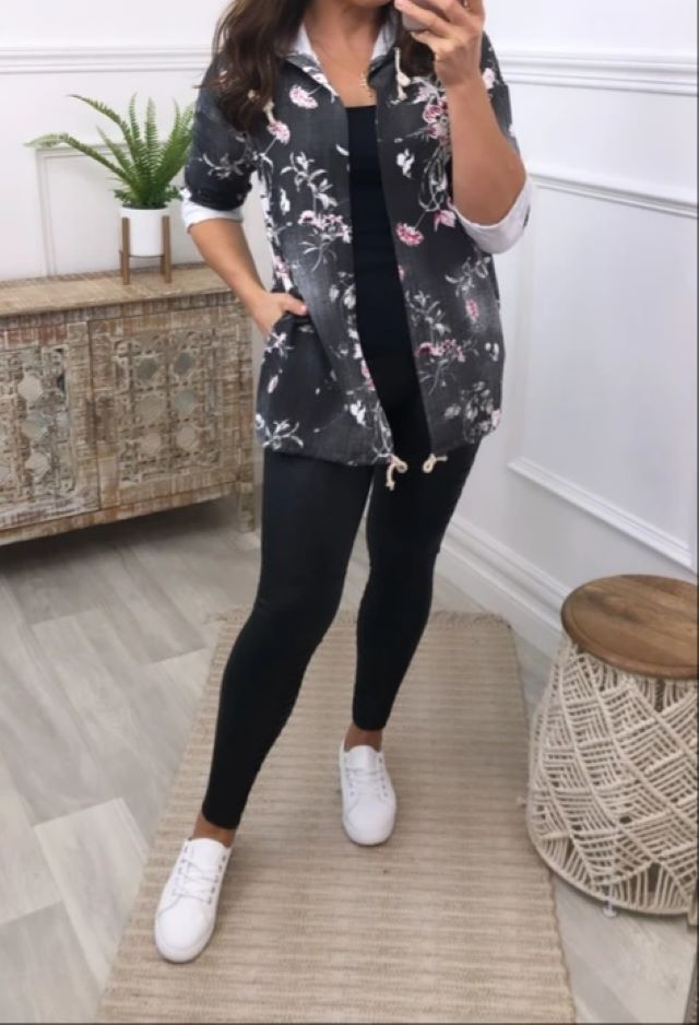 Black Floral Hooded Coatigan
