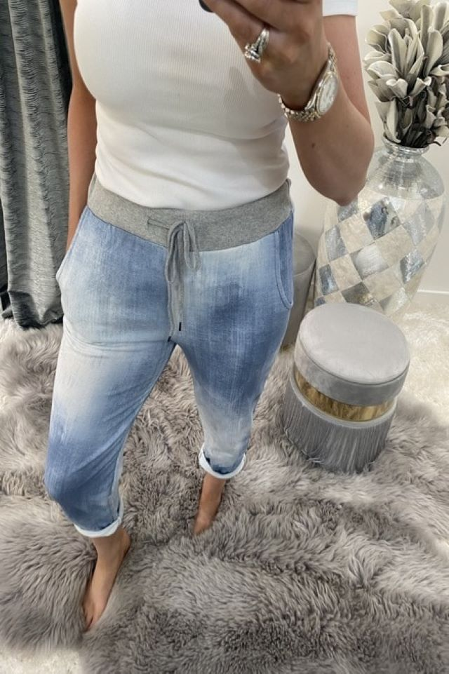 Pale Blue denim Jogger pants