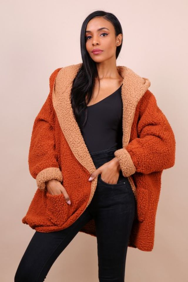 Reversible Teddy Coat – Camel/Rust (Available to Pre order)