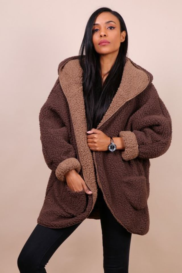Reversible Teddy Coat – Brown/Tan (Available to Pre-order)