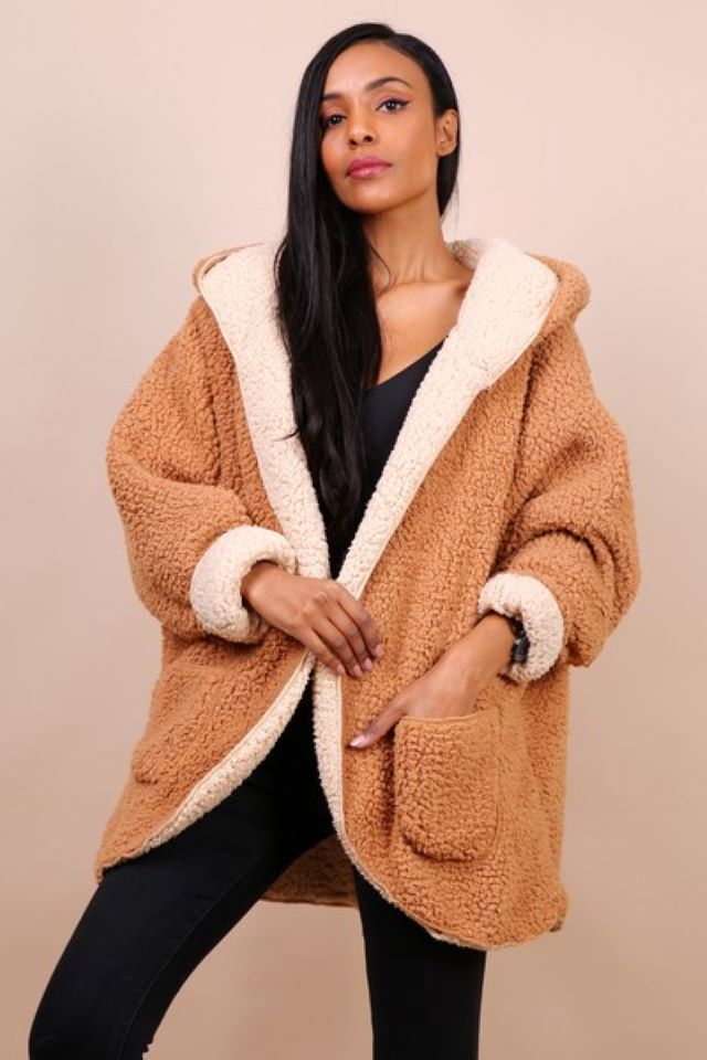 Reversible Teddy Coat – Camel/Beige (Available to pre-order)