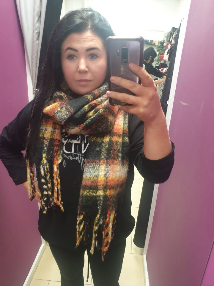 Yellow and Black Check Chunky Scarf