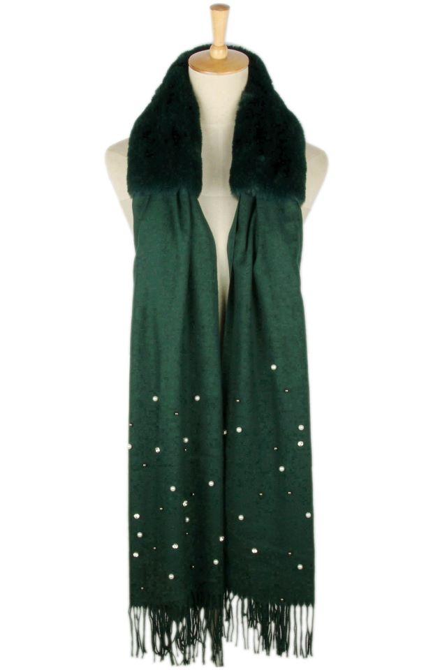 Fur Detail Pearl Scarf – Green/Rust/Black