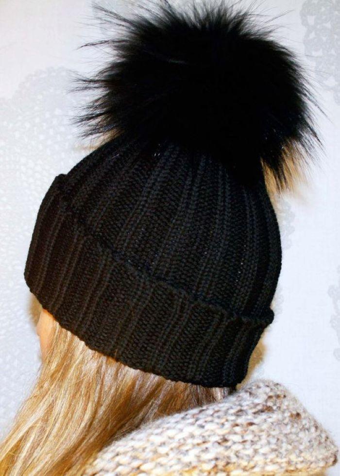 Faux Fur Pom Pom Hat – Black/Green/Grey