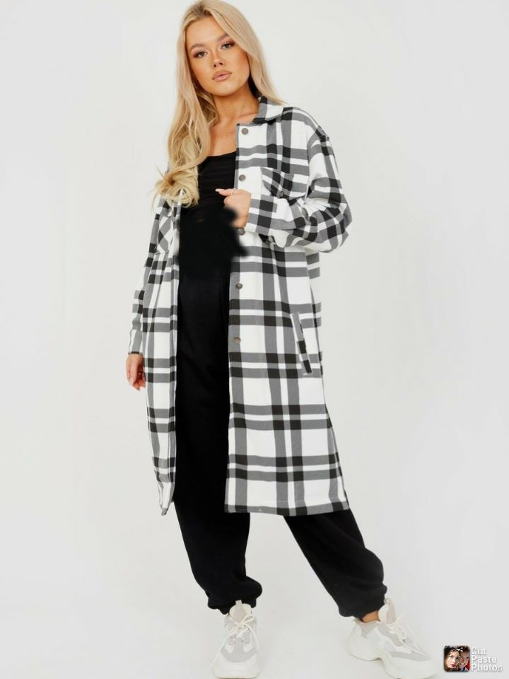 Jessica Longline Shacket in Black and white Check