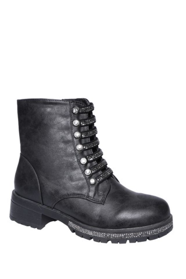 Emmie Black Diamante Strap Boots