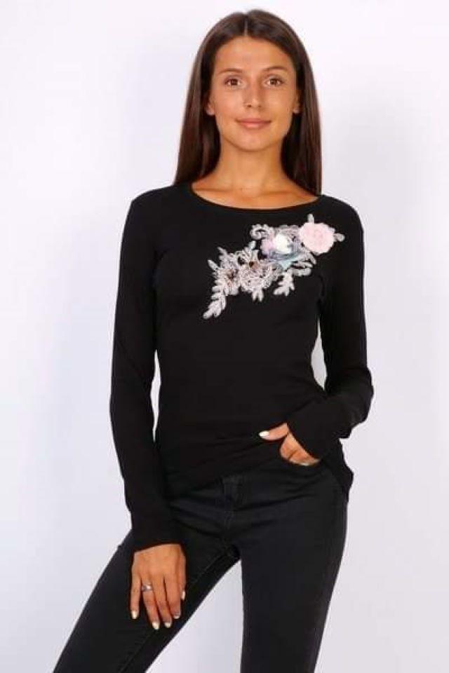 Black Floral Long Sleeve Top