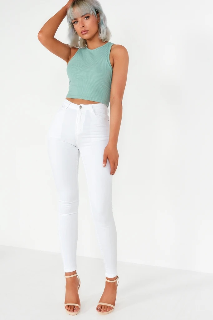 Marlie High Waist White Skinnies
