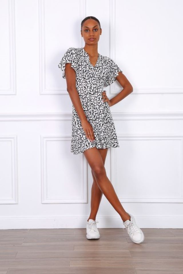 Black Daisy Print Dress