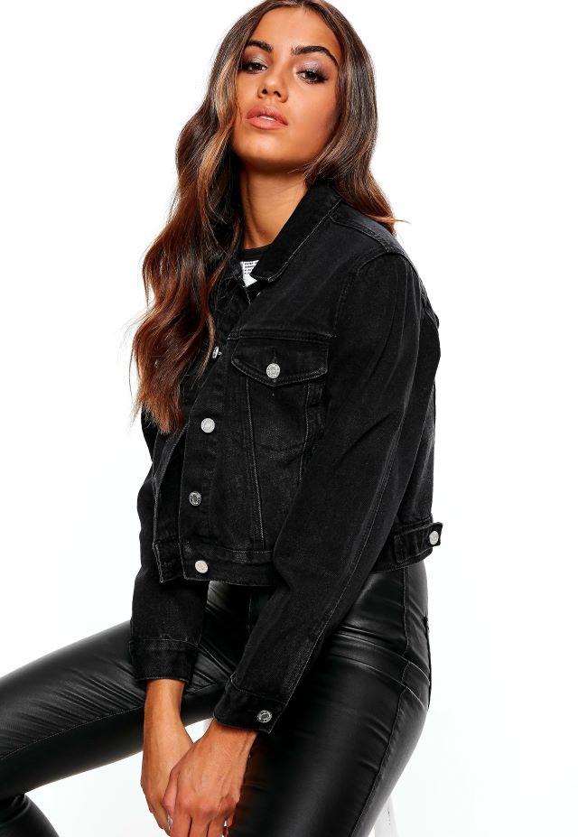 Kaci Black Cropped Denim Jacket