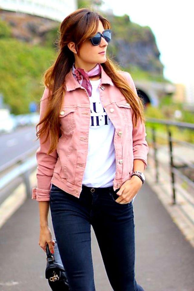 Kaci Rose Pink Denim Jacket