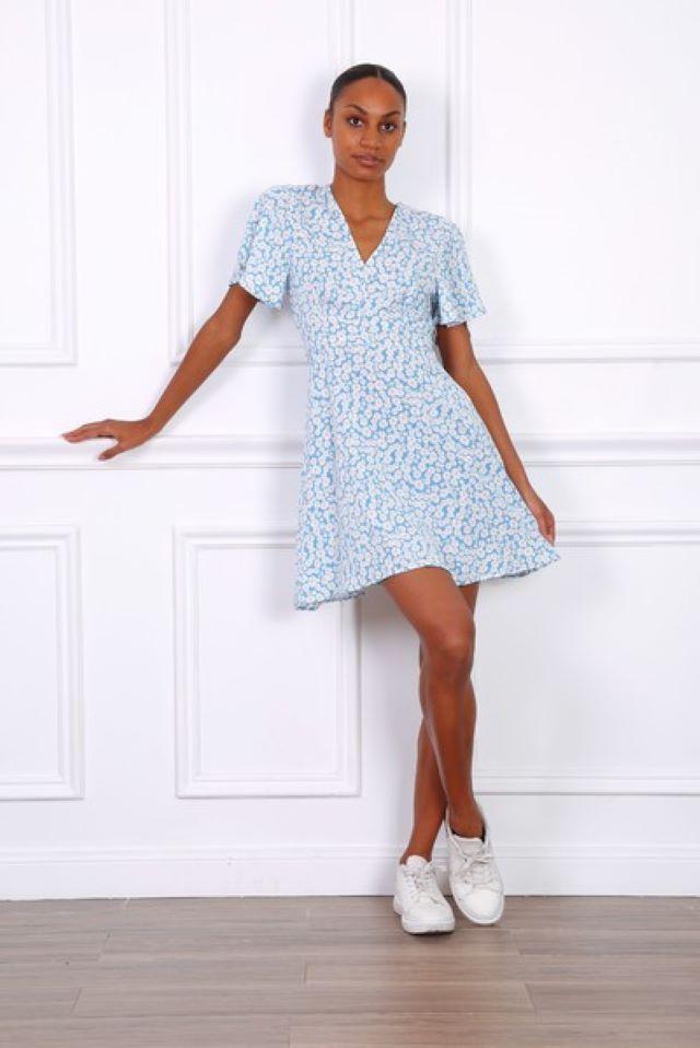 Blue Daisy Print Dress