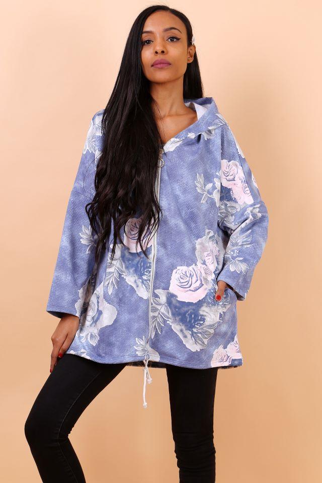Blue Floral Hooded Coatigan