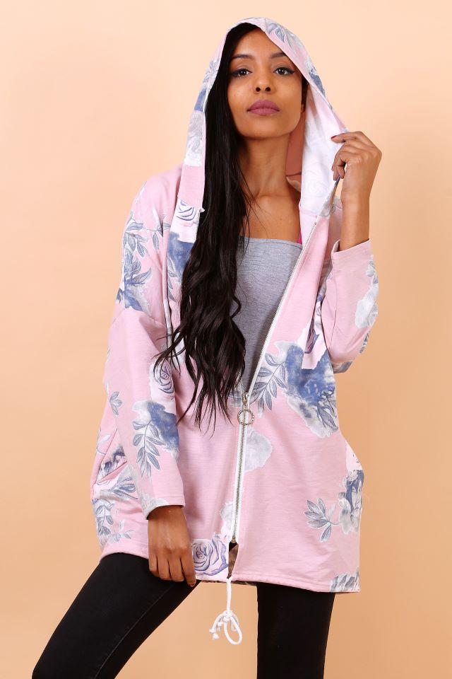 Pink Floral Hooded Coatigan