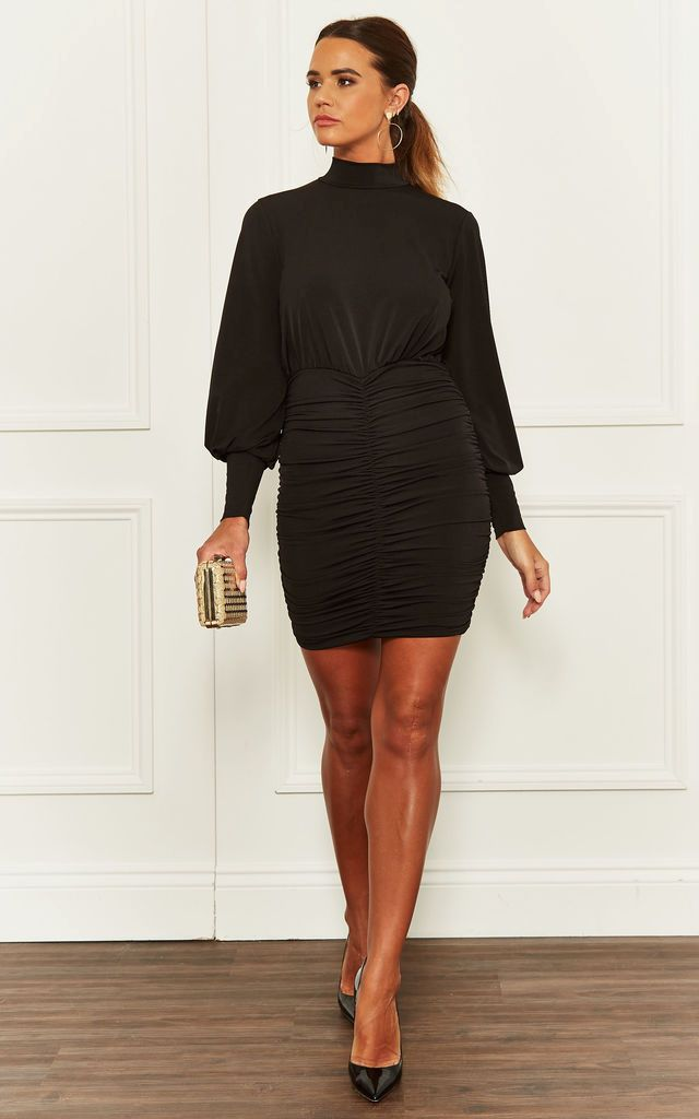 Ruched Mini Dress with Balloon Sleeves